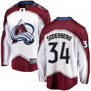 Fanatics Branded Carl Soderberg Colorado Avalanche Youth Breakaway Away Jersey - White