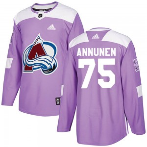 Adidas Justus Annunen Colorado Avalanche Youth Authentic Fights Cancer Practice Jersey - Purple