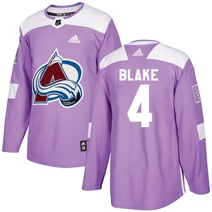Adidas Rob Blake Colorado Avalanche Youth Authentic Fights Cancer Practice Jersey - Purple