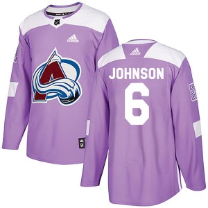 Adidas Erik Johnson Colorado Avalanche Youth Authentic Fights Cancer Practice Jersey - Purple
