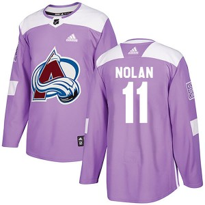 Adidas Owen Nolan Colorado Avalanche Youth Authentic Fights Cancer Practice Jersey - Purple