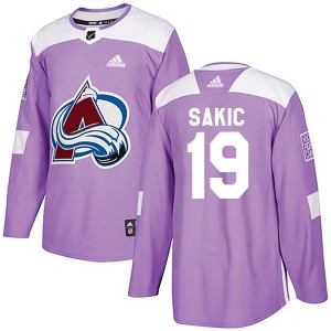 Adidas Joe Sakic Colorado Avalanche Youth Authentic Fights Cancer Practice Jersey - Purple