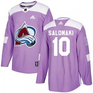 Adidas Miikka Salomaki Colorado Avalanche Youth Authentic Fights Cancer Practice Jersey - Purple