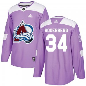 Adidas Carl Soderberg Colorado Avalanche Youth Authentic Fights Cancer Practice Jersey - Purple