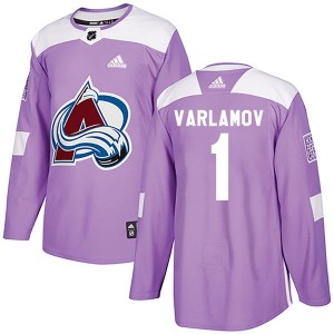 Adidas Semyon Varlamov Colorado Avalanche Youth Authentic Fights Cancer Practice Jersey - Purple
