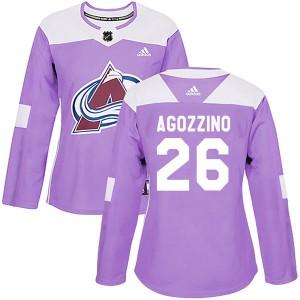 Adidas Andrew Agozzino Colorado Avalanche Women's Authentic Fights Cancer Practice Jersey - Purple