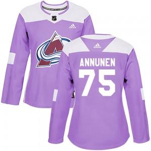 Adidas Justus Annunen Colorado Avalanche Women's Authentic Fights Cancer Practice Jersey - Purple