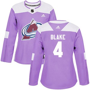 Adidas Rob Blake Colorado Avalanche Women's Authentic Fights Cancer Practice Jersey - Purple