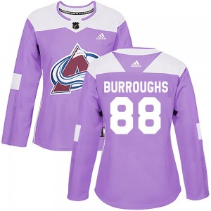 Adidas Kyle Burroughs Colorado Avalanche Women's Authentic Fights Cancer Practice Jersey - Purple