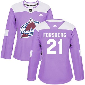 Adidas Peter Forsberg Colorado Avalanche Women's Authentic Fights Cancer Practice Jersey - Purple