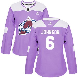 Adidas Erik Johnson Colorado Avalanche Women's Authentic Fights Cancer Practice Jersey - Purple