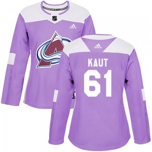 Adidas Martin Kaut Colorado Avalanche Women's Authentic ized Fights Cancer Practice Jersey - Purple