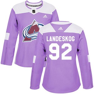 Adidas Gabriel Landeskog Colorado Avalanche Women's Authentic Fights Cancer Practice Jersey - Purple