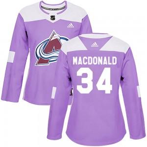 Adidas Jacob MacDonald Colorado Avalanche Women's Authentic Fights Cancer Practice Jersey - Purple