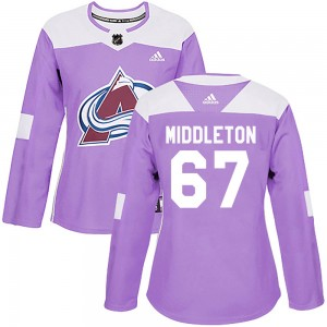 Adidas Keaton Middleton Colorado Avalanche Women's Authentic Fights Cancer Practice Jersey - Purple