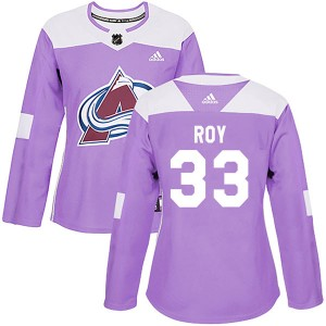 Adidas Patrick Roy Colorado Avalanche Women's Authentic Fights Cancer Practice Jersey - Purple