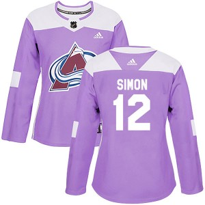 Adidas Chris Simon Colorado Avalanche Women's Authentic Fights Cancer Practice Jersey - Purple