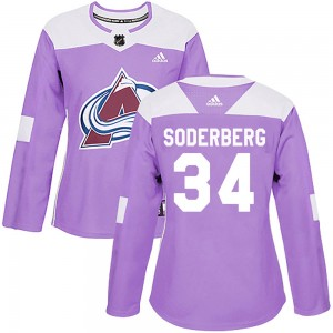 Adidas Carl Soderberg Colorado Avalanche Women's Authentic Fights Cancer Practice Jersey - Purple