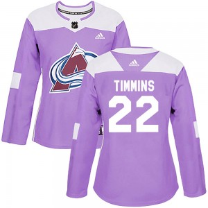 Adidas Conor Timmins Colorado Avalanche Women's Authentic Fights Cancer Practice Jersey - Purple