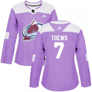 Adidas Devon Toews Colorado Avalanche Women's Authentic Fights Cancer Practice Jersey - Purple
