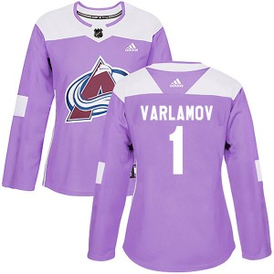 Adidas Semyon Varlamov Colorado Avalanche Women's Authentic Fights Cancer Practice Jersey - Purple