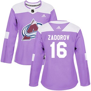 Adidas Nikita Zadorov Colorado Avalanche Women's Authentic Fights Cancer Practice Jersey - Purple