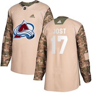 Adidas Tyson Jost Colorado Avalanche Youth Authentic Veterans Day Practice Jersey - Camo