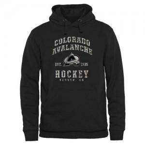 Men's Colorado Avalanche Black Camo Stack Pullover Hoodie