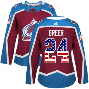 Adidas A.J. Greer Colorado Avalanche Women's Authentic Burgundy USA Flag Fashion Jersey - Red
