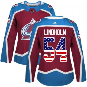 Adidas Anton Lindholm Colorado Avalanche Women's Authentic Burgundy USA Flag Fashion Jersey - Red