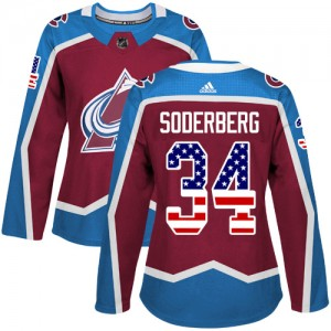 Adidas Carl Soderberg Colorado Avalanche Women's Authentic Burgundy USA Flag Fashion Jersey - Red