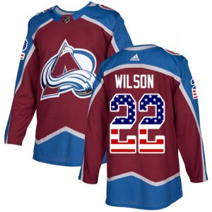 Adidas Colin Wilson Colorado Avalanche Men's Authentic Burgundy USA Flag Fashion Jersey - Red