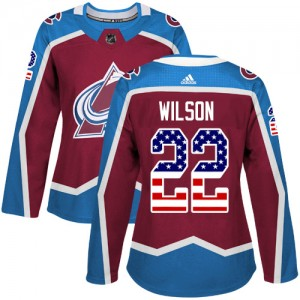 Adidas Colin Wilson Colorado Avalanche Women's Authentic Burgundy USA Flag Fashion Jersey - Red