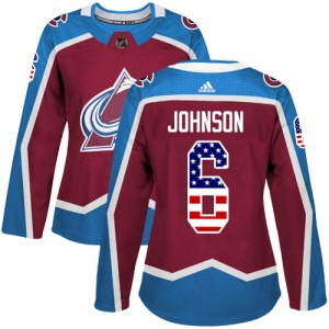 Adidas Erik Johnson Colorado Avalanche Women's Authentic Burgundy USA Flag Fashion Jersey - Red