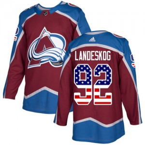 Adidas Gabriel Landeskog Colorado Avalanche Men's Authentic Burgundy USA Flag Fashion Jersey - Red