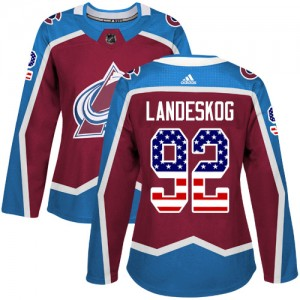 Adidas Gabriel Landeskog Colorado Avalanche Women's Authentic Burgundy USA Flag Fashion Jersey - Red