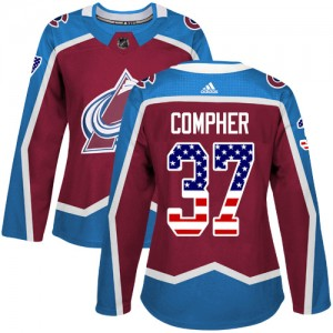 Adidas J.t. Compher Colorado Avalanche Women's Authentic J.T. Compher Burgundy USA Flag Fashion Jersey - Red