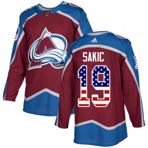 Adidas Joe Sakic Colorado Avalanche Men's Authentic Burgundy USA Flag Fashion Jersey - Red