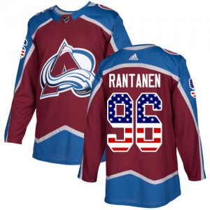 Adidas Mikko Rantanen Colorado Avalanche Youth Authentic Burgundy USA Flag Fashion Jersey - Red