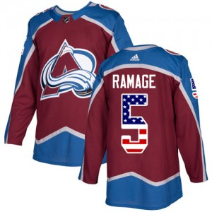 Adidas Rob Ramage Colorado Avalanche Men's Authentic Burgundy USA Flag Fashion Jersey - Red