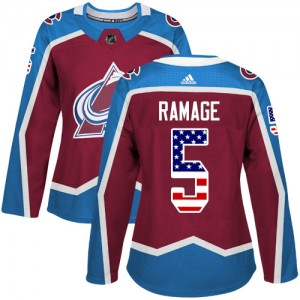 Adidas Rob Ramage Colorado Avalanche Women's Authentic Burgundy USA Flag Fashion Jersey - Red
