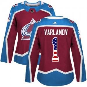 Adidas Semyon Varlamov Colorado Avalanche Women's Authentic Burgundy USA Flag Fashion Jersey - Red