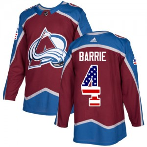 Adidas Tyson Barrie Colorado Avalanche Men's Authentic Burgundy USA Flag Fashion Jersey - Red