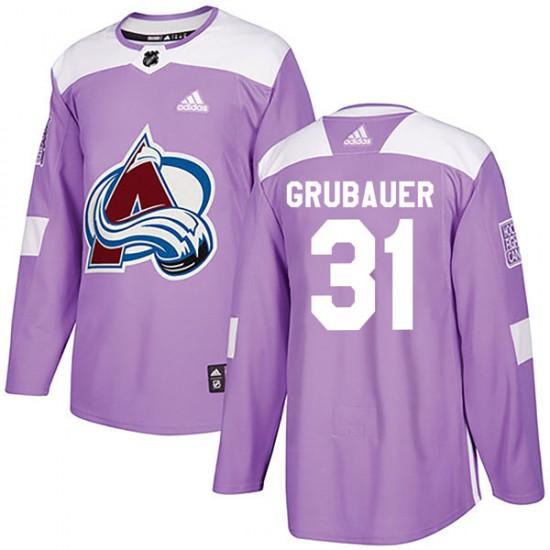 Adidas Philipp Grubauer Colorado Avalanche Men's Authentic Fights Cancer Practice Jersey - Purple
