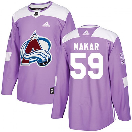 Adidas Cale Makar Colorado Avalanche Youth Authentic Fights Cancer Practice Jersey - Purple