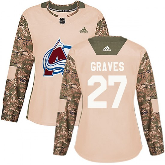 Adidas Ryan Graves Colorado Avalanche Women's Authentic Veterans Day Practice Jersey - Camo
