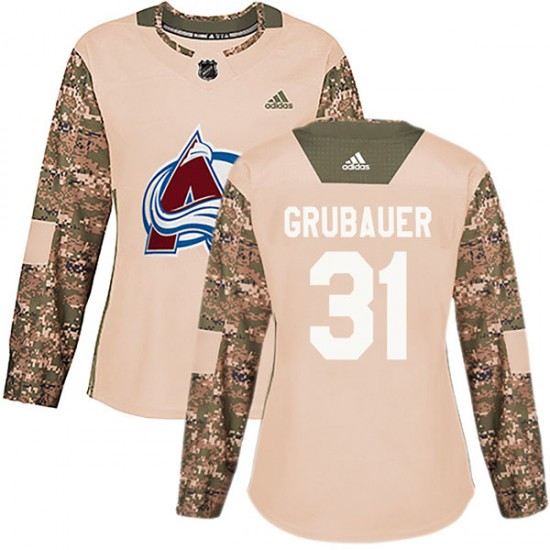 Adidas Philipp Grubauer Colorado Avalanche Women's Authentic Veterans Day Practice Jersey - Camo