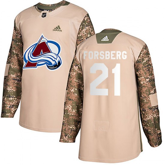 Adidas Peter Forsberg Colorado Avalanche Youth Authentic Veterans Day Practice Jersey - Camo