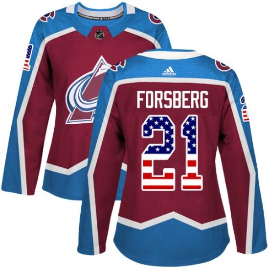 Adidas Peter Forsberg Colorado Avalanche Women's Authentic Burgundy USA Flag Fashion Jersey - Red