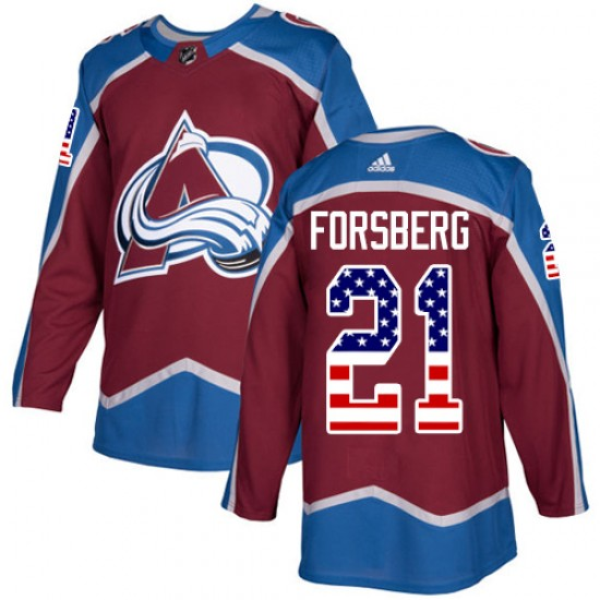Adidas Peter Forsberg Colorado Avalanche Youth Authentic Burgundy USA Flag Fashion Jersey - Red